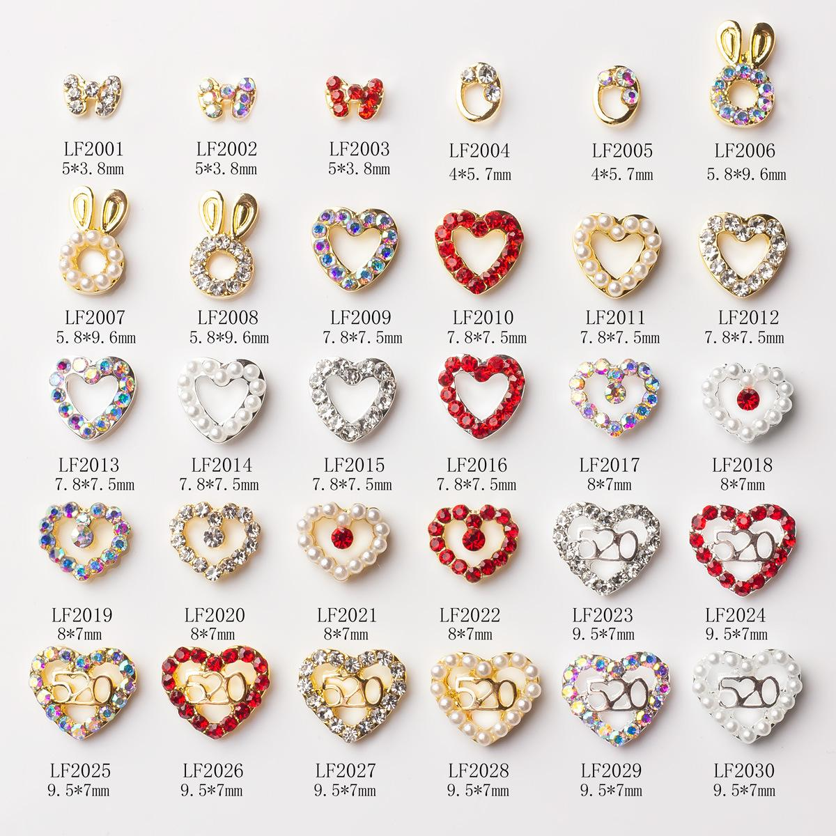 NAR005 30 styles 3D Colorful Round Oval Heart Charm Ornaments Nail Art Rhinestones Decoration DIY Nail Tips Accessories