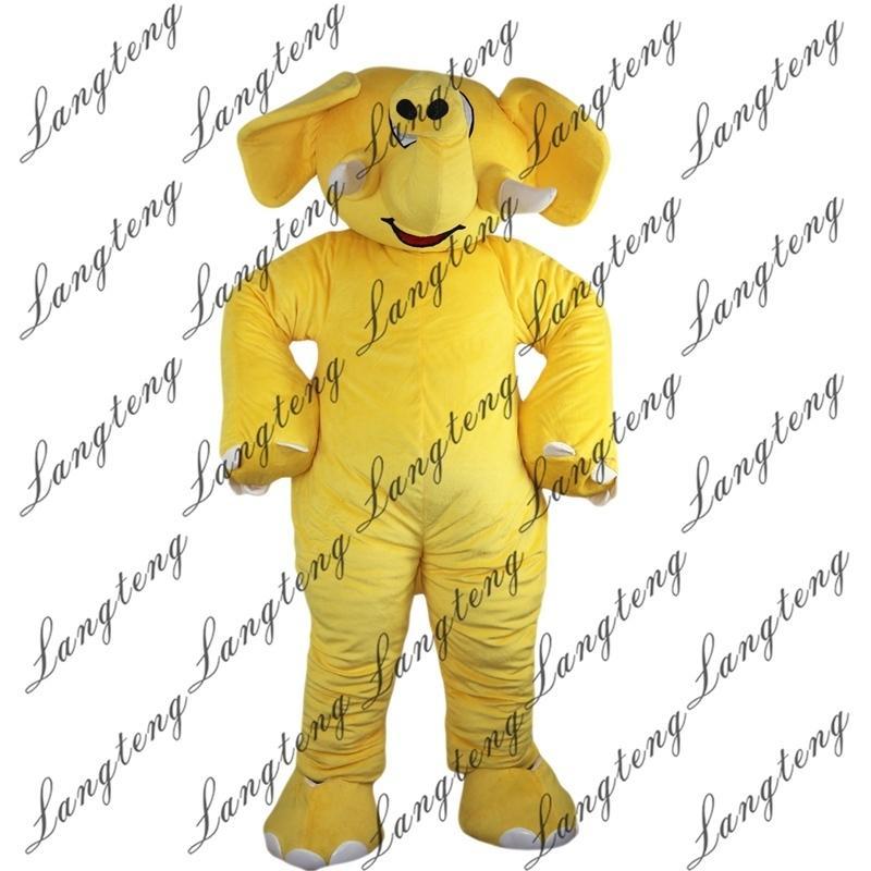 2018 Nova alta qualidade amarela elefante mascote trajes para adultos Circo natal halloween outfit fantasia vestido terno frete grátis012