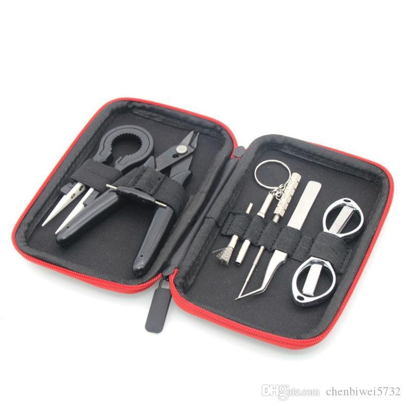 9 in 1 Tool Bag Kit Blacksmith Pinze Curve Tweezers Coil Jig Pennello per vaporizzatore Atomizzatori E Sigaretta DHL GRATIS