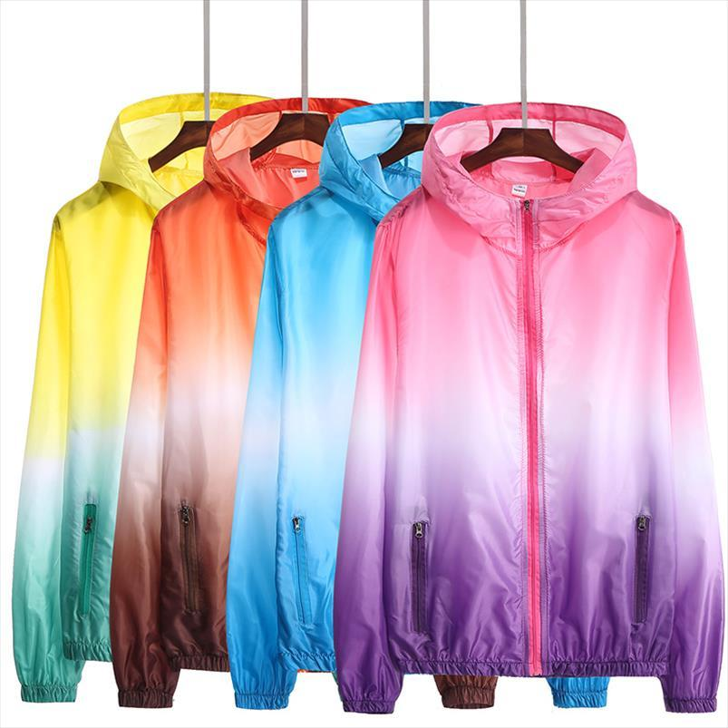 Frauen Schnell trockene Hautmantel Sonnencreme UV Frauen Gradient Thin Outwear ultra light windbrake jacke plus größe 4xl