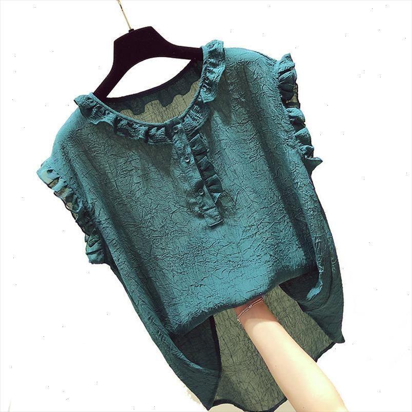 F JE Yeni Kore Moda Yaz Kadın Gömlek Artı Boyutu Tatlı Sevimli Kolsuz Şifon Gömlek Ruffles Bluzlar Tops Giysileri D26