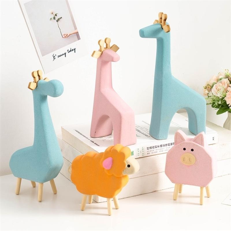 Керамические животные украшения украшения дома аксессуары современного жирафа овец слон лошади украшения рождественские дети подарки стол 20103