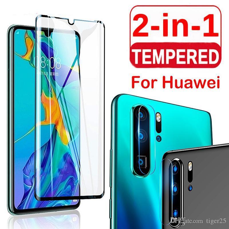 2 em 1 29 Cobertura completa Tela de vidro temperado e proteção de lente de câmera para Huawei P Smart 2019 P30 Lite Pro Mate 20Lite P30Pro