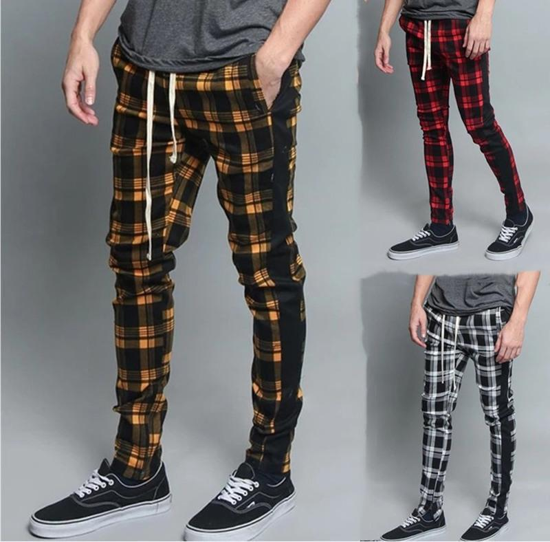 Hommes Mode Pantalon Casual Street Port Pantalon Plaid Slim Pantalons Cool Street Japonais Streetwear