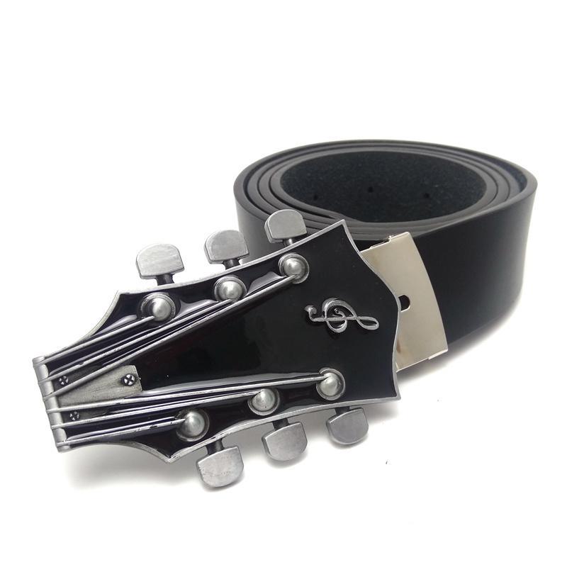 Mens Big Buckle Cinto Com Vermelho Azul Negro Música Série Guitarra Cabeça de Metal Cinto De Cinto de Couro Cinto Cinto Ceinture homme 130 cm J1223