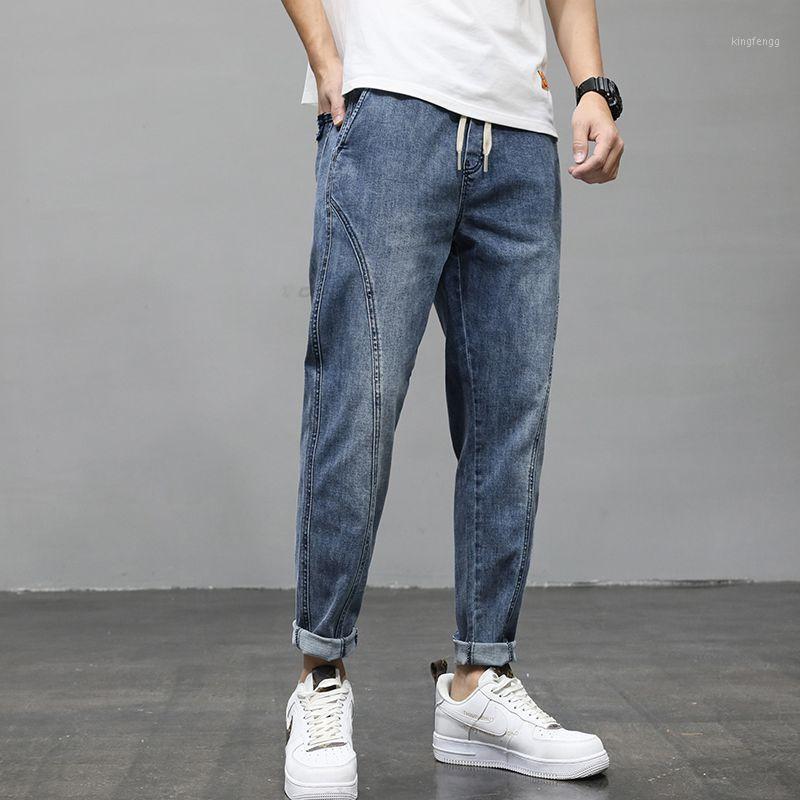 Moda Jeans Clásicos Blue Men's Talla MÁS Pantalones Harem Pantalones Elásticos Rectos Pantalones Fogales1