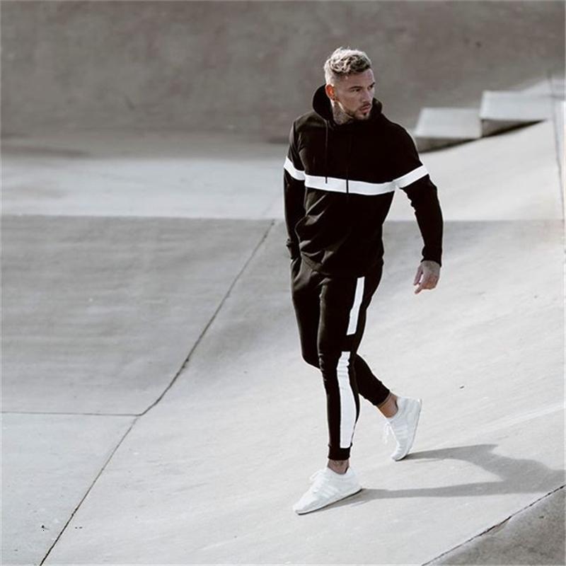 2020 Nuovo fratello muscolare Pantaloni moda uomo con cappuccio per uomo