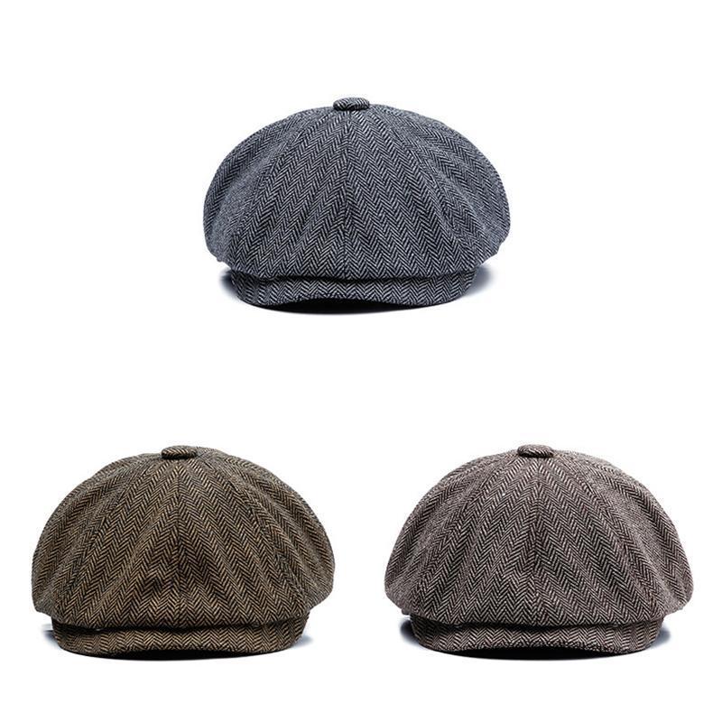 Classic Retro Herringbone Berretto Grey Brown Octagon Cap traspirante Zucca Cappello Gatsby piatto Caps elegante Beret NZ159