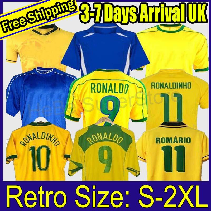 1998 Brasilien Fussball Jerseys 2002 Retro Hemden Carlos Romario Ronaldo Ronaldinho 2004 Camisa de Futebol 1994 Brasilien 2006 1982 Rivaldo Adriano