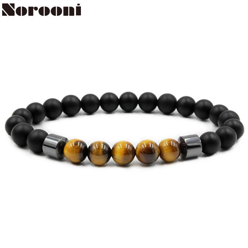 Les ornements des hommes NOROONI mode 8 mm perle grain perles naturelles et cadeaux cadeaux de la chaîne main hématite