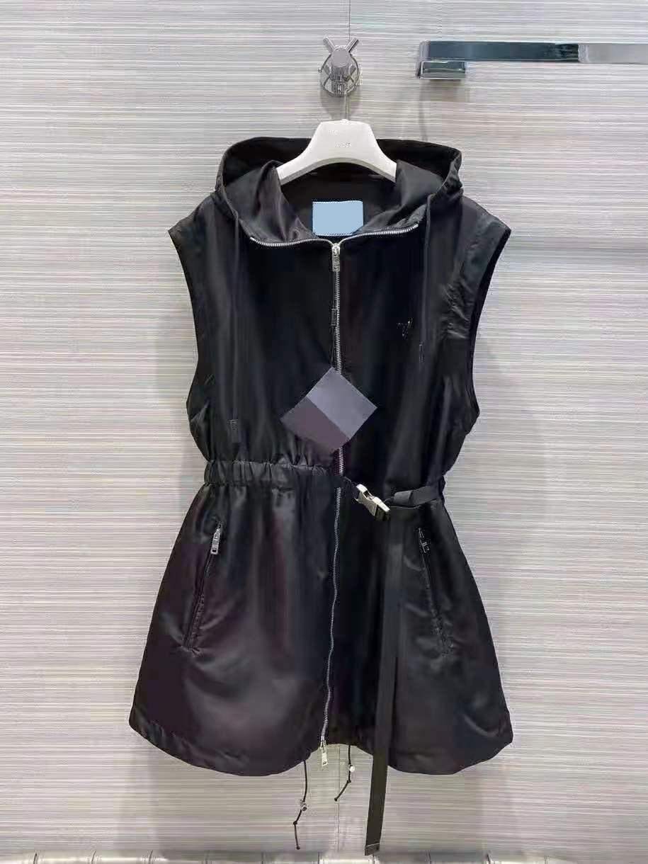 Chaqueta de mujer Chaleco largo con mangas con capucha con capucha Retire las capas con cinturón para la chaqueta delgada de Lady Blanco y negro Dos de la opción S-L