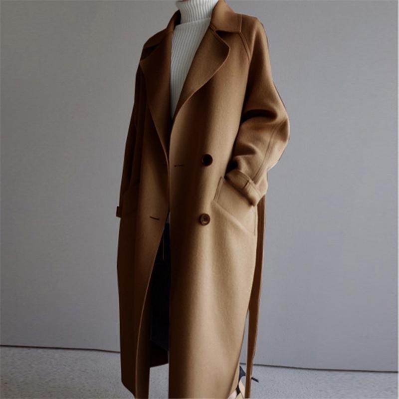 Hiver beige élégant en laine manteau femme coréenne mode noir manteaux longs manteaux de base minimaliste de base de la chaleur surdimensionnée Outwear Y201012