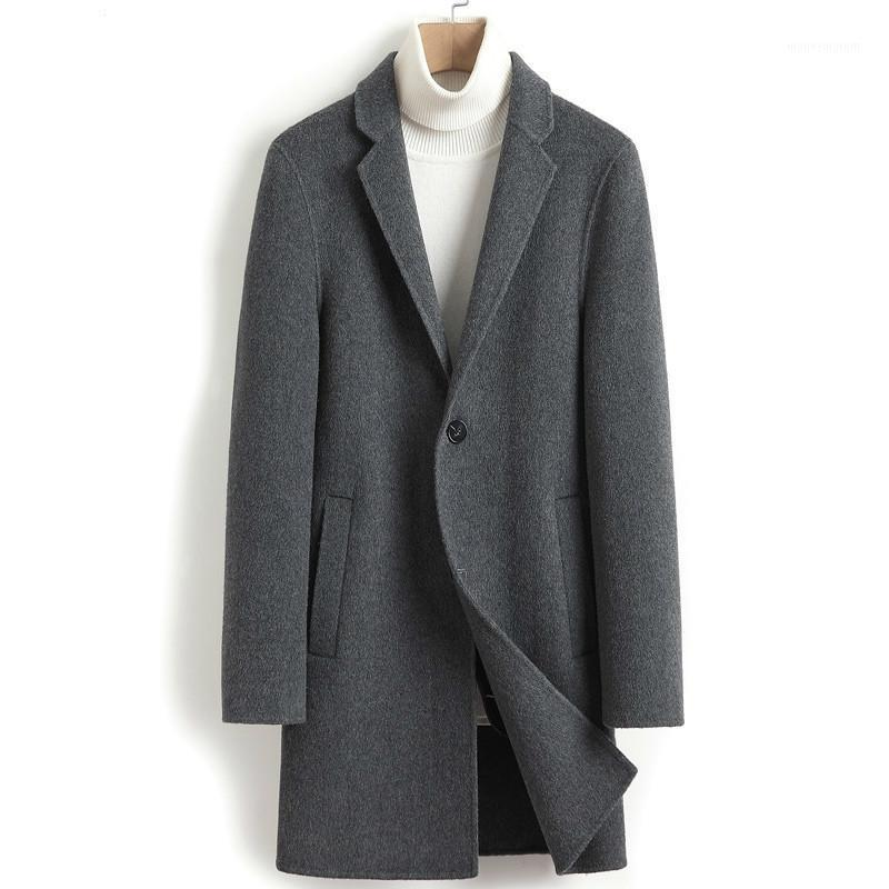 Men's Wool & Blends Double-sided Coat Cashmere Long Jacket Men Korean Autumn Mens Overcoat Coats And Jackets Abrigo Hombre 2021 4432 J35821
