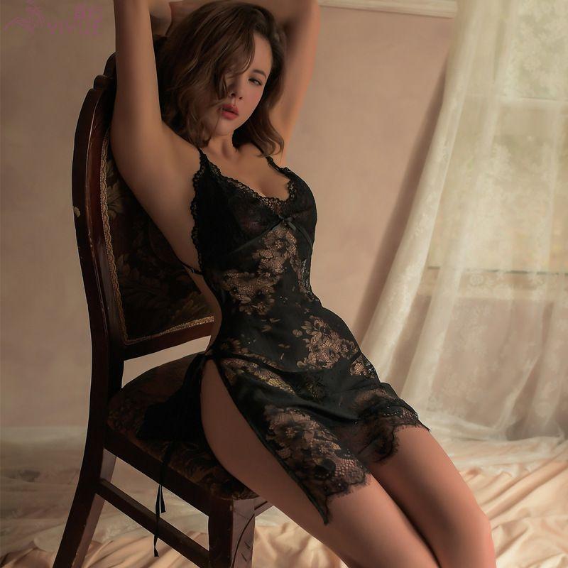 New style sexy underwear women sexy lace suspender dress lace up nightdress uniform temptation pajamas 8157