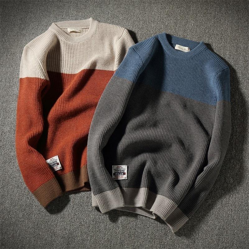 Осень и зима новая пальто японский ретро хитап цветного досуга трикотаж прилив мужские модный свитер