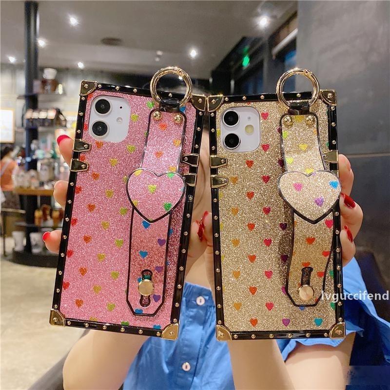Luxus-Square-Liebes-Herz-Telefon-Kasten für iPhone11 Pro max 7 8 plus Mode-Wrisband-Abdeckung Telefon für iPhone x XR xs max SE 2020
