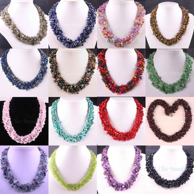 """LIVRAISON GRATUITE 4x8mm Perles de puce Nylon Ligne de nylon Coral Cristal Violet Howlite Cristal Opal Shell Lazuli Garnet Collier 18 """"1pcs1"""