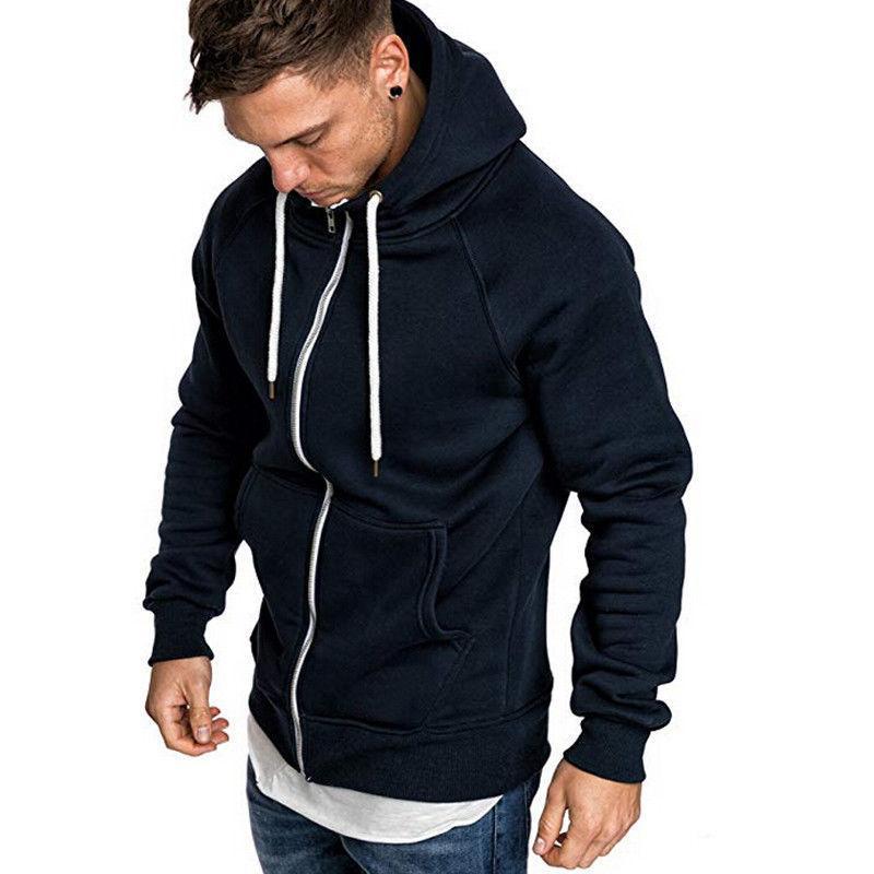 Herren Hoodies Sweatshirts 2021 Stil Mode Winter Slim Hoodie Warme Mit Kapuze Reißverschluss mit Hut Tasche O Neck Solid