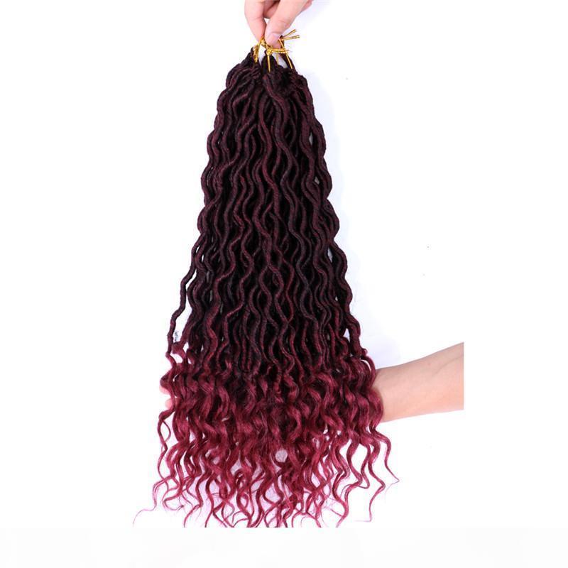 Shanghair 18 '' Tanrıça Faux Locs Kıvırcık Sonu Kısa Dalgalı Sentetik Saç Uzantıları 70g PC Tığ Örgüler Siyah Afros