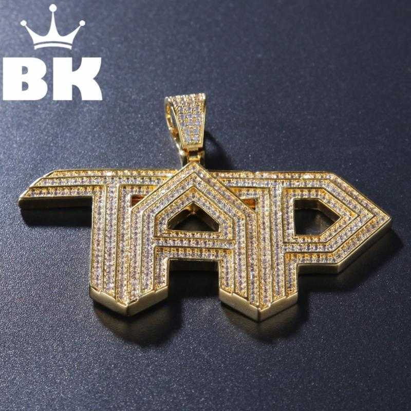 The Bling King Custom Tap Collana Hip Hop Full Iced Out Cubic Zirconia Gold Sliver CZ Stone