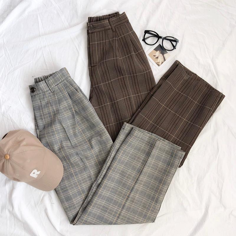 Herbst Elegante Plaid Hohe Taille Hosen Frauen Vintage Casual Taschen Gerade Hosen Damen Streetwear Lose Hosen Weibchen 2021