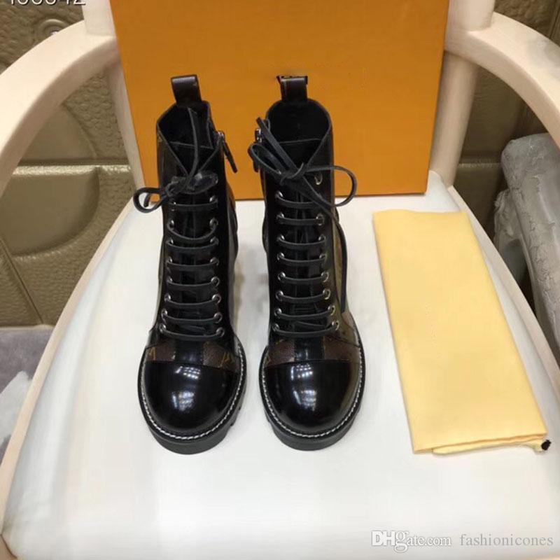 2020 Moda Yüksek Topuk Çizmeler Lüks Tasarımcı Kadın Çizmeler Bayanlar Ayak Bileği Boot Orijinal Sonbahar Kış Kısa Çizmeler