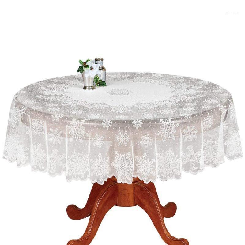 Nappe de Noël Couverture de table florale de la dentelle Vintage Blanc pour Chiristmas Mariage Ménage Diy Decoration Table Couverture # Bl31