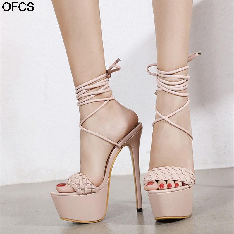 Новые Bandkle Sharap Sandals Летнее Weave Женские Сандалии Модные платформы Свадебные каблуки 17см Обувь Высокая каблука Съемница Обувь Женщины