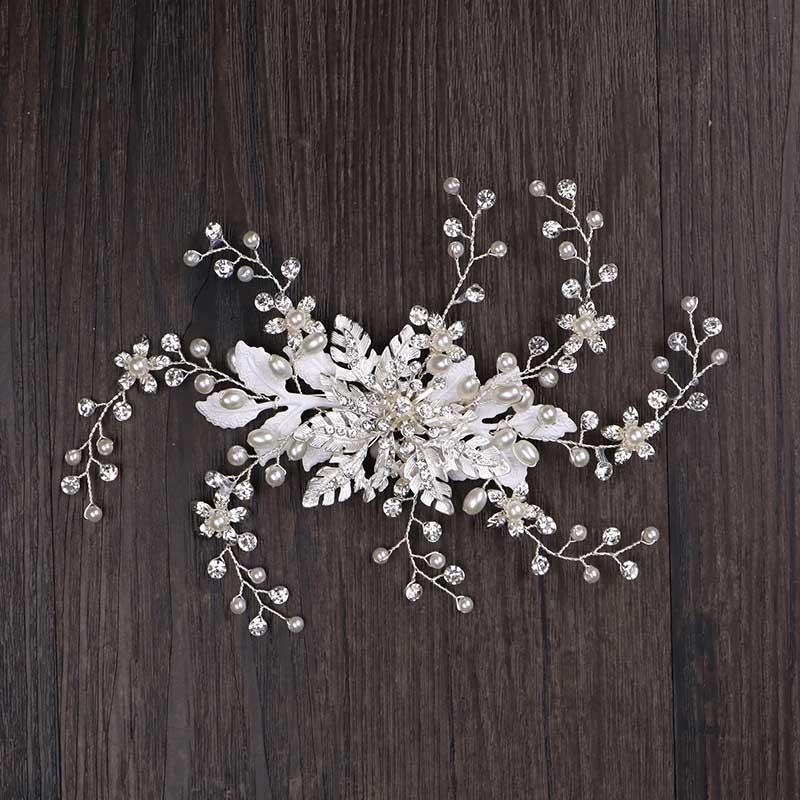 Forseven Yeni Kore Moda Beyaz Çiçek Yaprakları Kristal Simüle İnciler Bantlar Gelin Noiva Düğün Parti Saç Takı