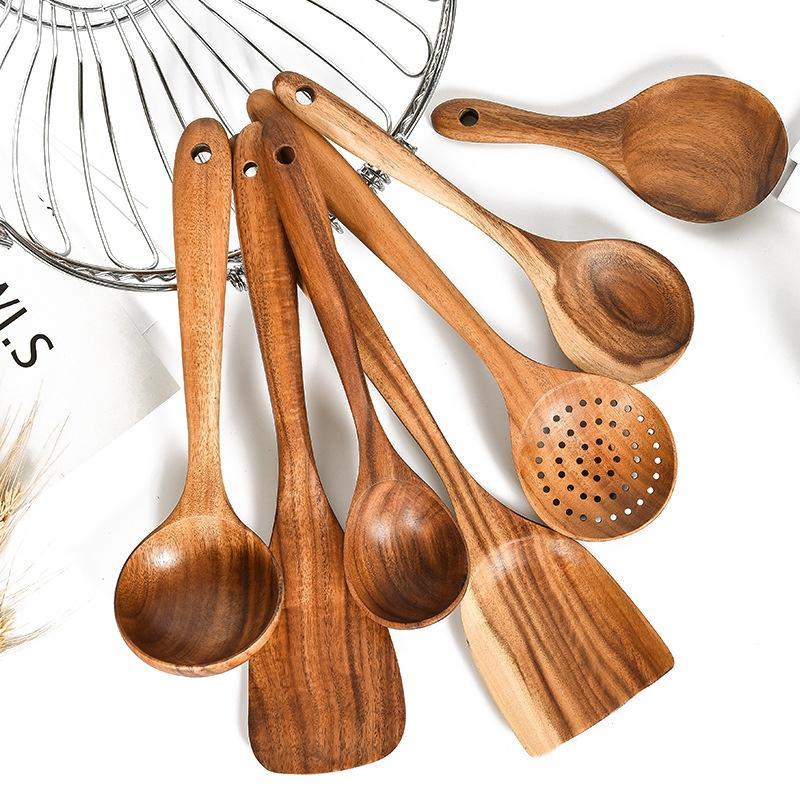 Vaisselle en bois de teck Vaisselle Cuillère Colandre Poignée longue Poignée en bois Non-Stick Spécial Spatule Spatule Cuisine Outil de cuisine Ustensiles Cadeau de cuisine DBC BH4472