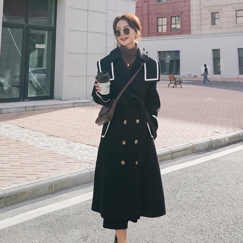 Женщины черные шерстяные пальто осень зима двубортный моряк воротник стройный стройный ленты длинные шерстяные смесиные куртки элегантный старинный overcoat1