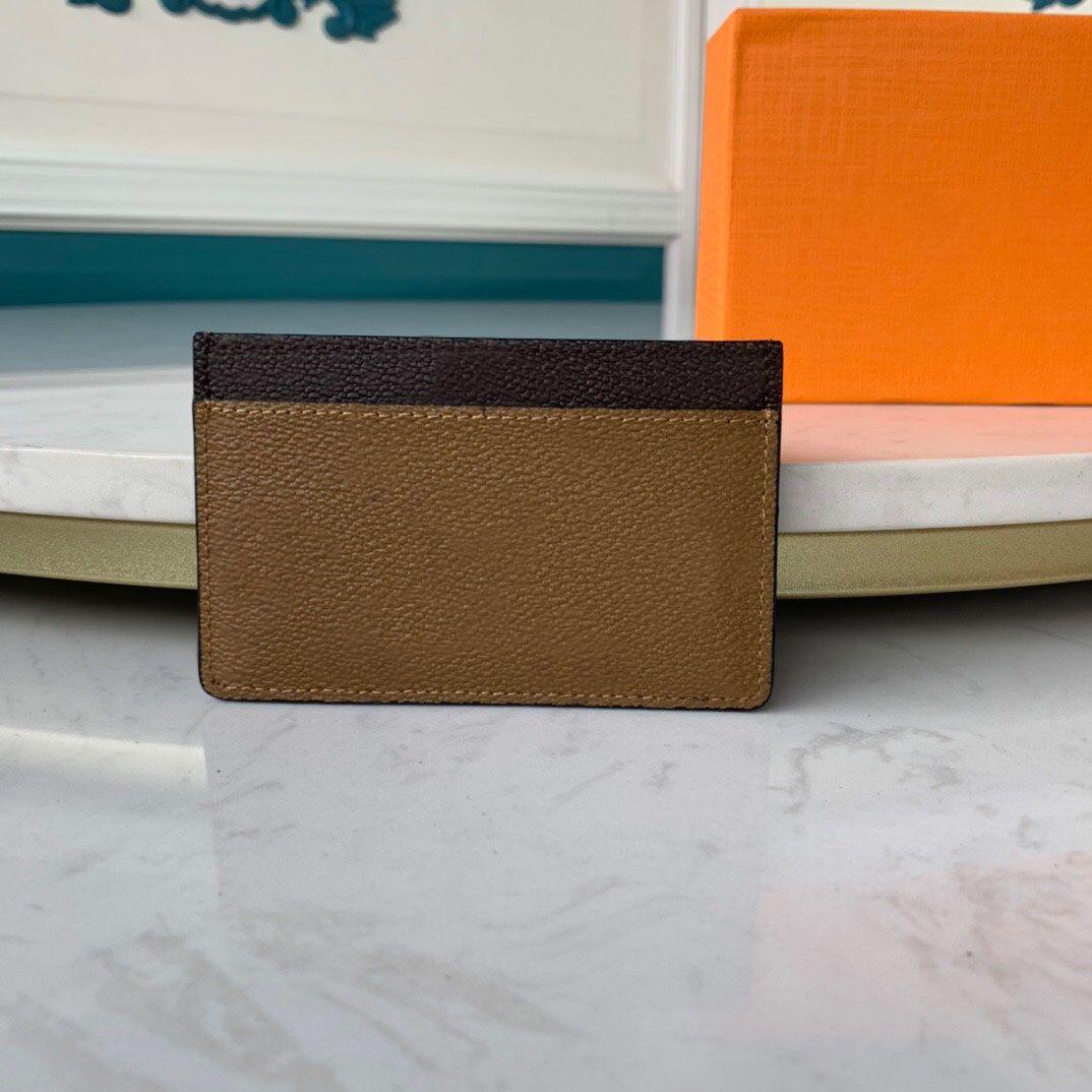 Porte-Card en cuir 10 hommes Marron / jaune Qualité Designers avec boîte Luxurys Best Portefeuille Femme Véritable Véritable Carte de crédit Porte-monnaie Porte-monnaie HWQG