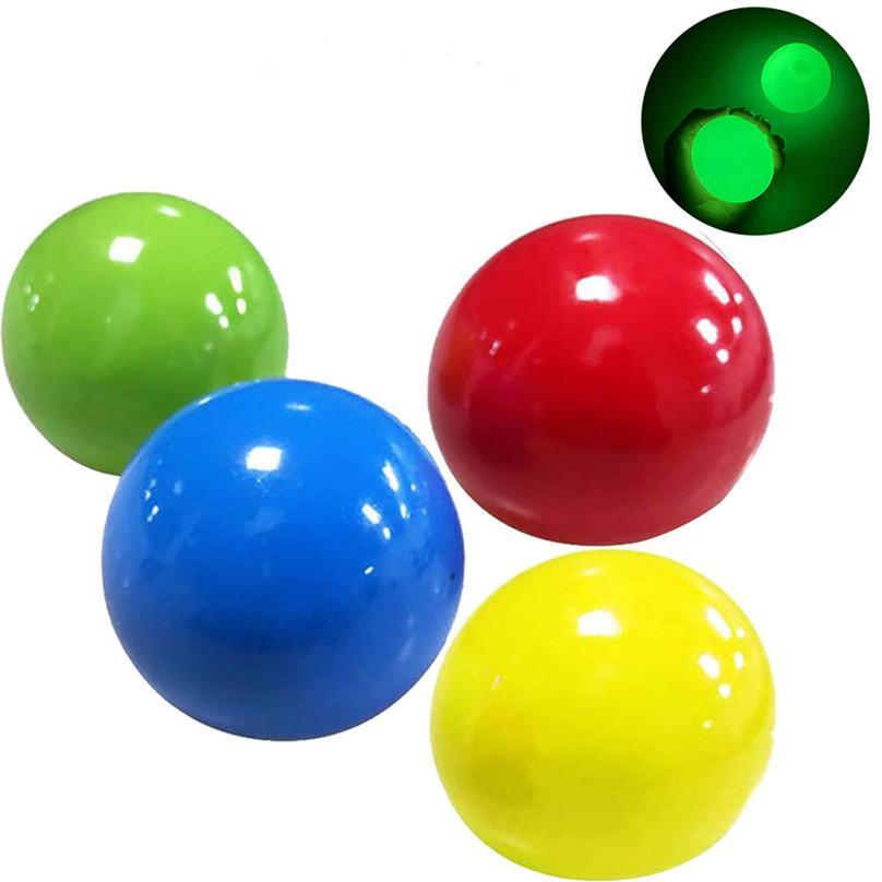 Palline da soffitto luminoso Sforzo Stress Silvell Sticky Ball Glod Target Ball Night Light DECOMPRESSION Balls Squishy Glow Giocattoli per bambini E121101