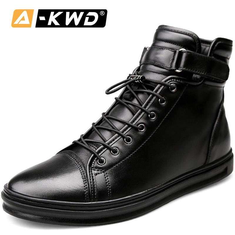 2019 Moda Negro Con Piel Banda Elástica Hombres Invierno Hook Loop Single Toble Boots High Top Tooling Shoes 38-48 Q1202