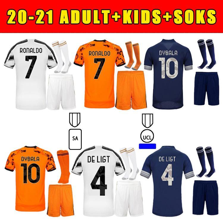 2020 Jersey de futebol Ronaldo Dybala Morata de Ligt Mckennie 20 21 fãs Versão Kit de crianças adultos de alta qualidade + meias camisa de futebol