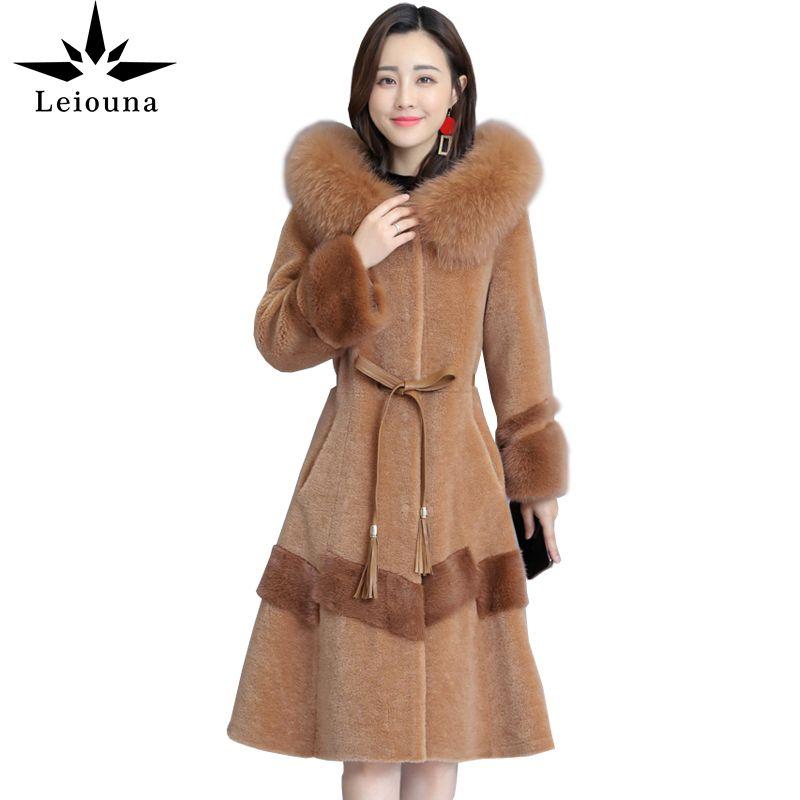 LEIOUNA PLUS Taille Fourrure Slim Foot Fourrure Manteau Coteau Coin cisaillé Femme Mode Longue Nouvelle laine Veste à capuche de laine Femmes Parker Overcoat 201031