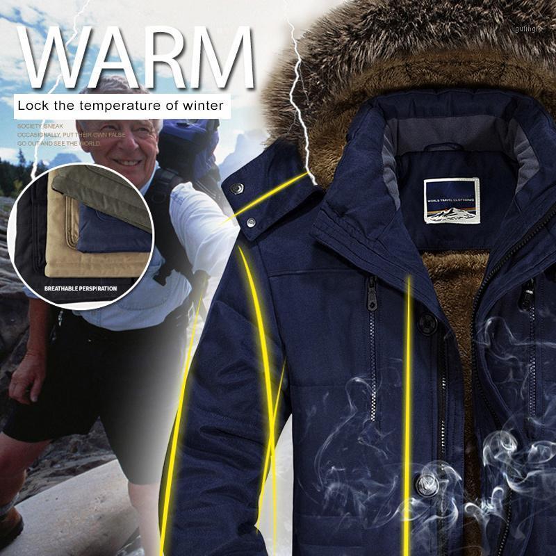 Uomini Cappotti invernali Giacche addensamento antivento caldo con cappuccio staccabile per labù all'aperto1