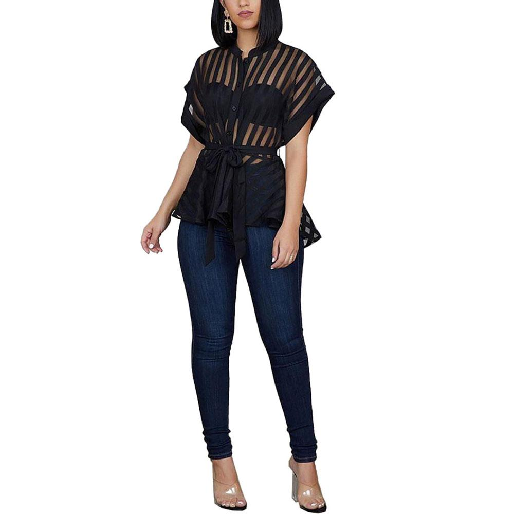 Women's Sexy Flared Tops Perspective Striped Tops Fashion Short Sleeve Blouse With Waist Belt