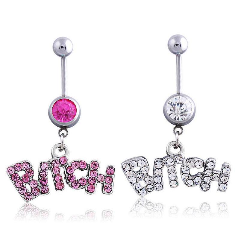 Silver/Pink Sexy Crystal Body Piercing Surgical Button Belly Ring Jewelry Navel Bar Jcnqc