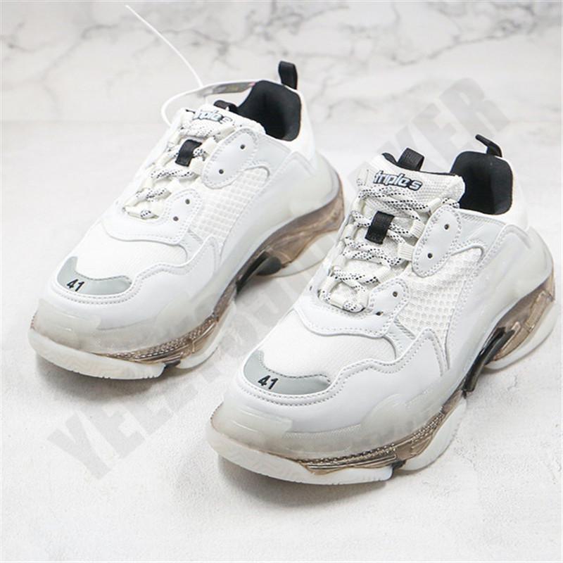 2020 Triple S Torre Shoes Combinación Blanco Soles Transparentes París Pista Zapatillas de Zapatillas de Zapatillas de Lujo Zapatos Sports Mens Woman Running Shoes