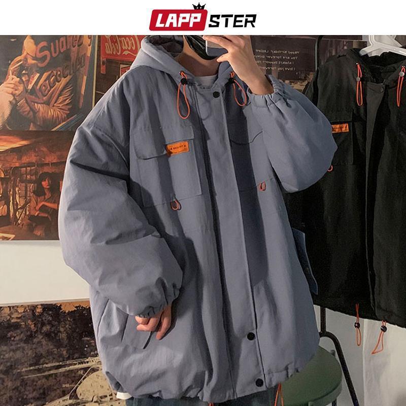 LAPPSTER Hommes Noir Streetwear Vestes d'hiver Manteaux 2020 hommes coréenne à capuchon Ursus Veste Manteau Homme Harajuku Pocket Hip Hop Parka