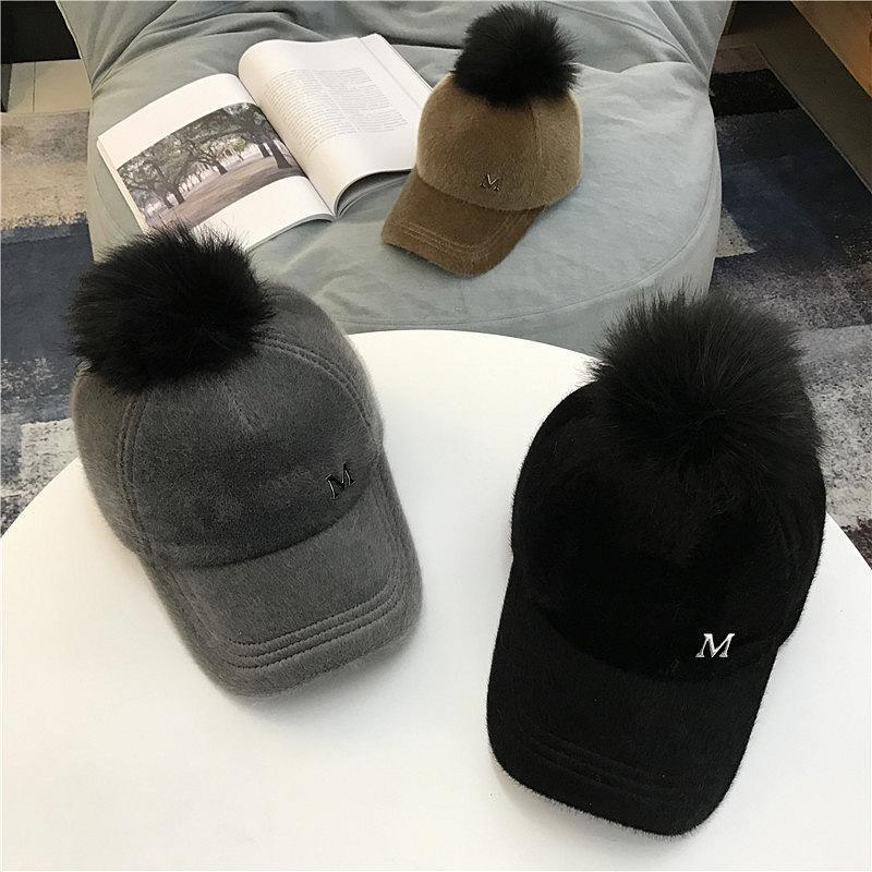 M-standard chapeau coréen coréen mignon fourrure canard mode automne hiver peluche chaude polyvalente courbe courbe bouchon de baseball