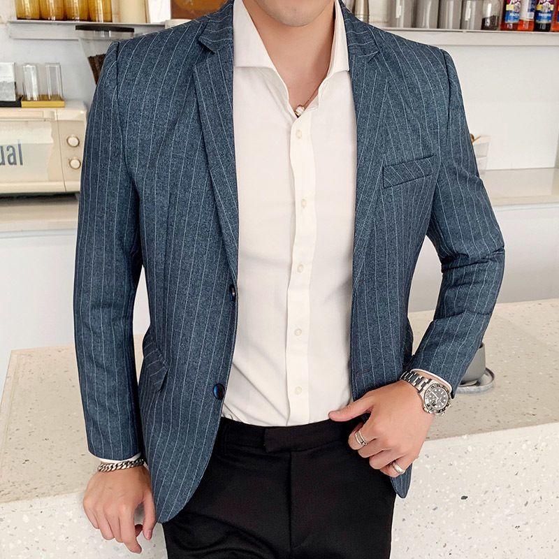 2020 Spring Automne Nouveaux Hommes Slim Fit Blazer Blazer à rayures Mâle Entreprise Homme Entreprise Costume Costume Veste