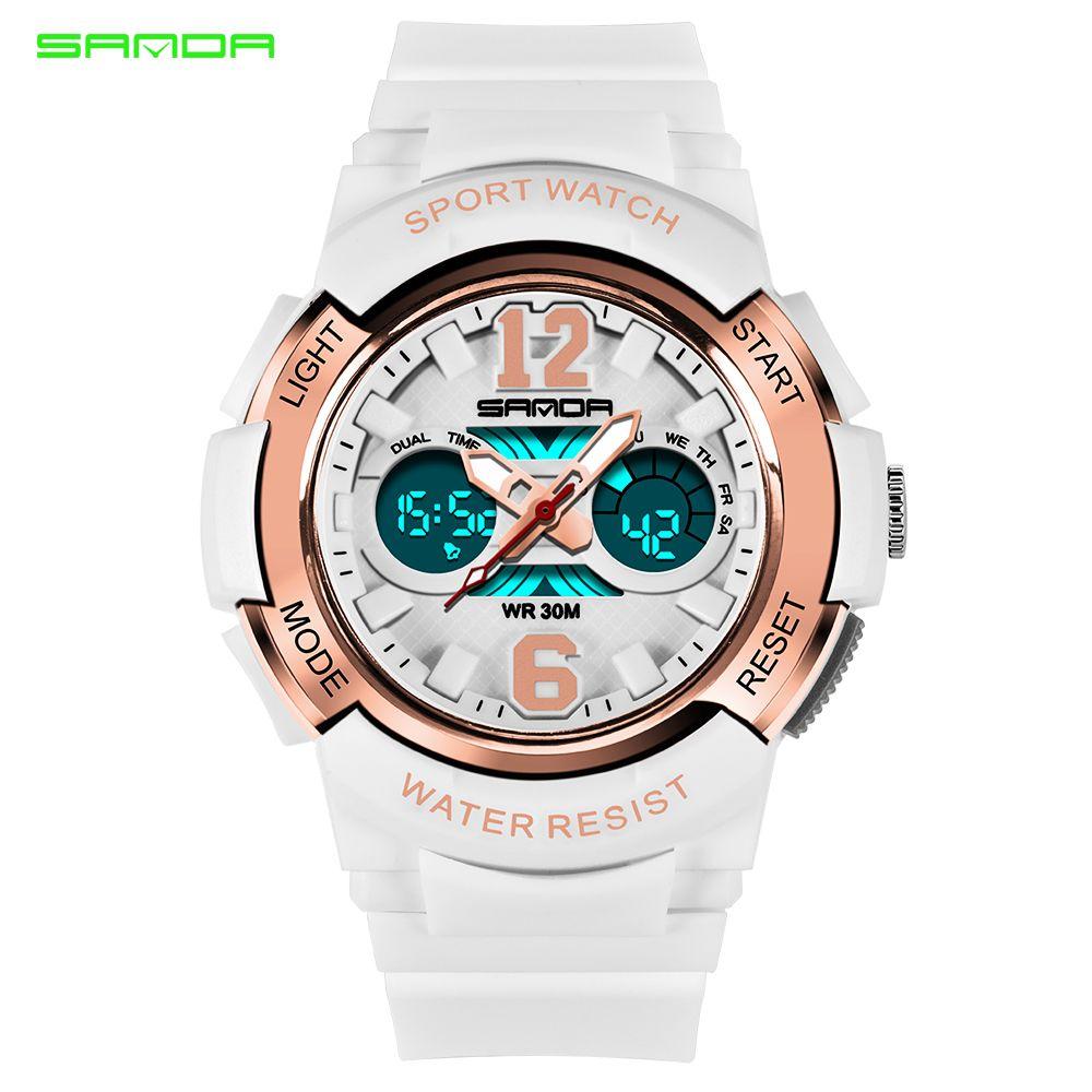 SANDA Women Sports Watches Fashion Waterproof LED Multifunction Digital Wristwatches Quartz Watch Montre Femme Relogio FemininoQ0108