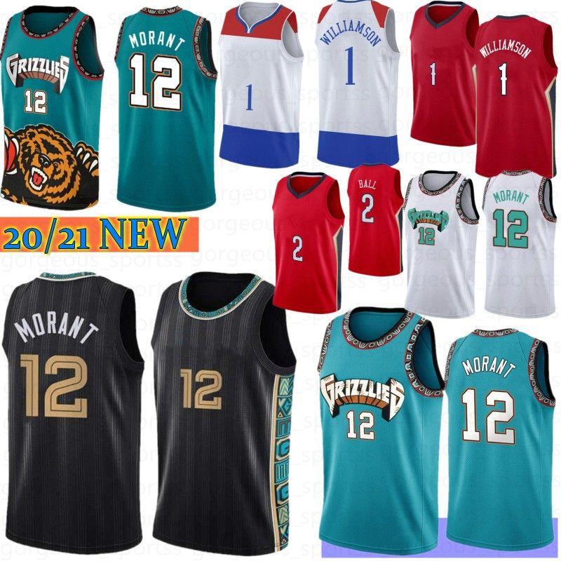 JA 12 Morant Sião 1 Williamson NCAA Homens Basquete Jersey Lonzo 2 Ball Basketball Jerseys S-XXL Stock 2021 New Jersey Camiseta de Baloncest