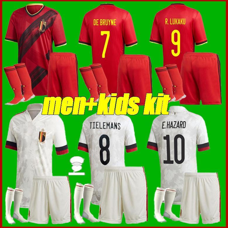 2020 2021 Belçika Jersey Ulusal Takım Üniformaları Lukaku Tehlike de Bruyne Futbol Jersey H.Vanaken Tielemans Futbol Forması 20 21 Erkekler + Çocuk Seti