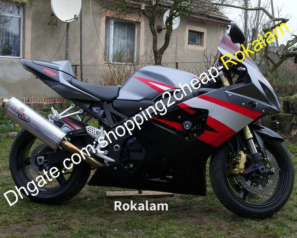 Para Suzuki Shell GSX-R600 GSX-R750 K4 2004 2005 PIEZAS GSXR600 GSXR750 Bodywork Silver Black Red Carne Rojo Aftermarket Kit (moldeo por inyección)