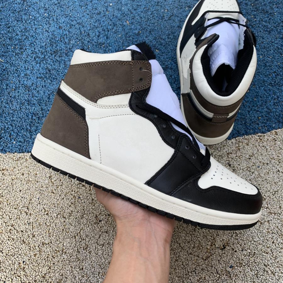 Высокое качество Jumpman 1 OG Sail Black Dark Mocha 1S высокая мужская баскетбольная обувь спортивной тапки с двойной коробкой