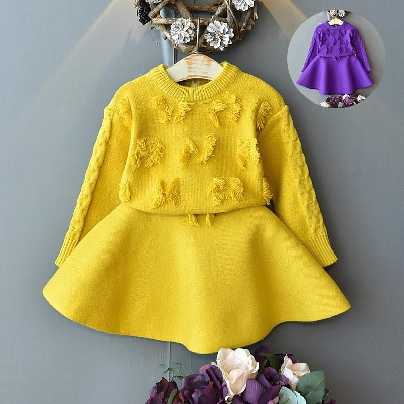 Baby Girl Одежда Tassel вязаный свитер ребенка теплый вязаный свитер костюм девочка одежда круглые шеи вязаный свитер набор из двух частей 201126