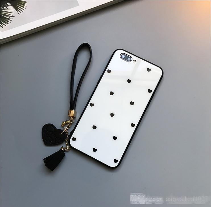 Caso de vidro temperado para telefone 6 6s 7 7plus 8 8Plus amor coração capa para iphone x xs xr max 7 8 mais tassel cordial caso